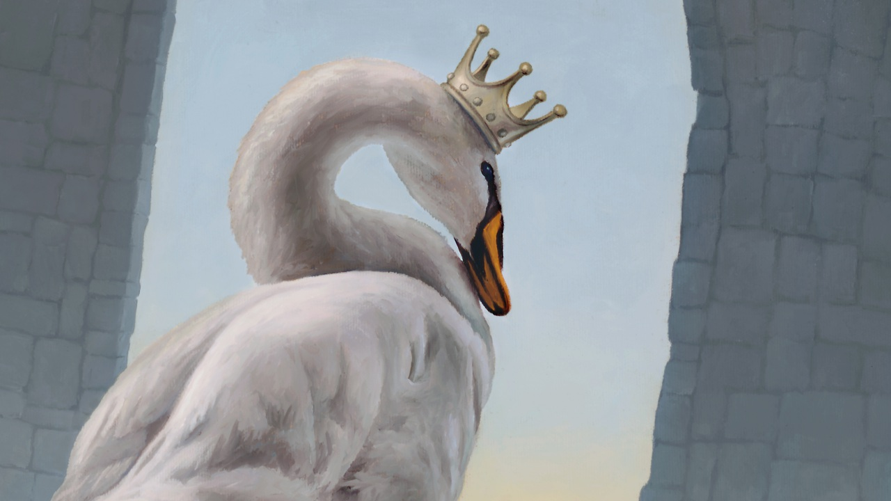 A Coronation of Singular Importance, painting of a swan, mute swan art