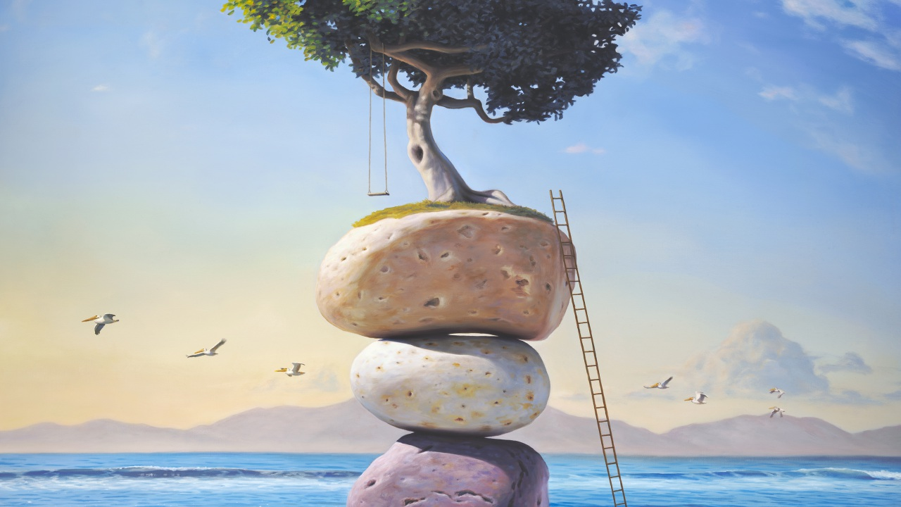 A Hymn to the Summer of My Long Ago, art wtih painting of a tree and tree swing perched on top of stacked stones on the beach with a ladder