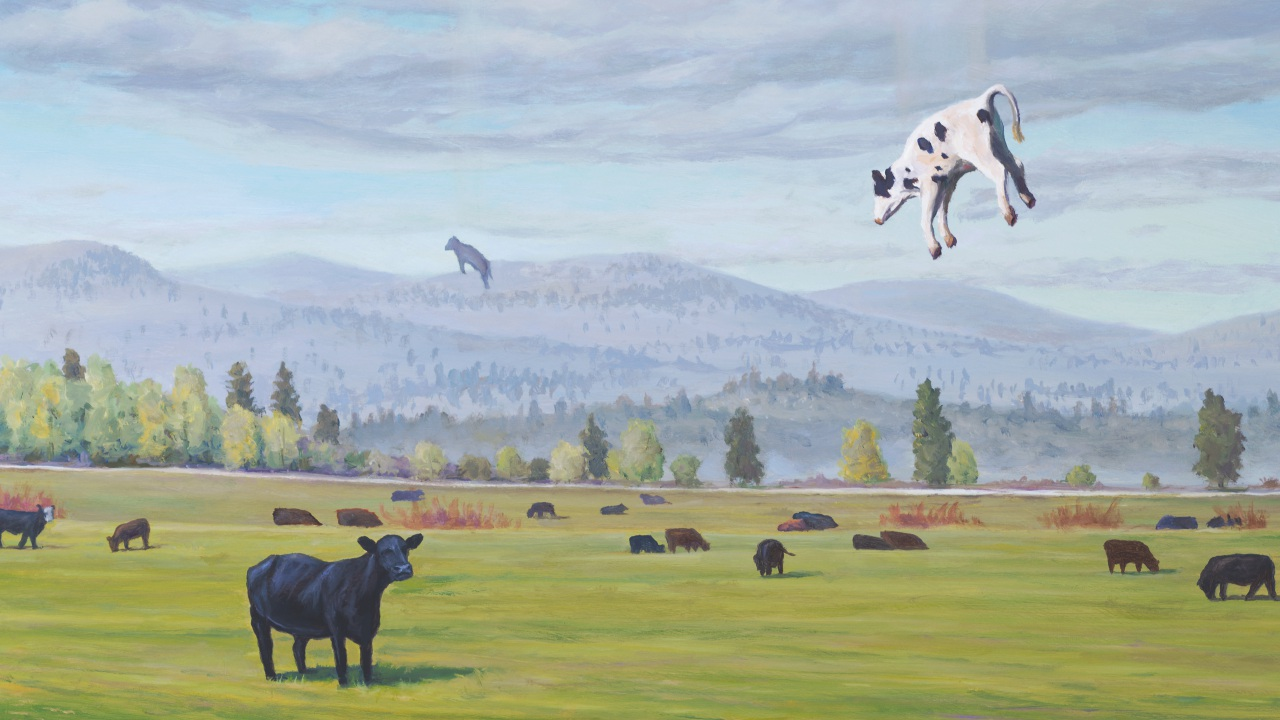 Ascending Cows aka the Great Bovine Rapture, painting of cows ascending to the sky