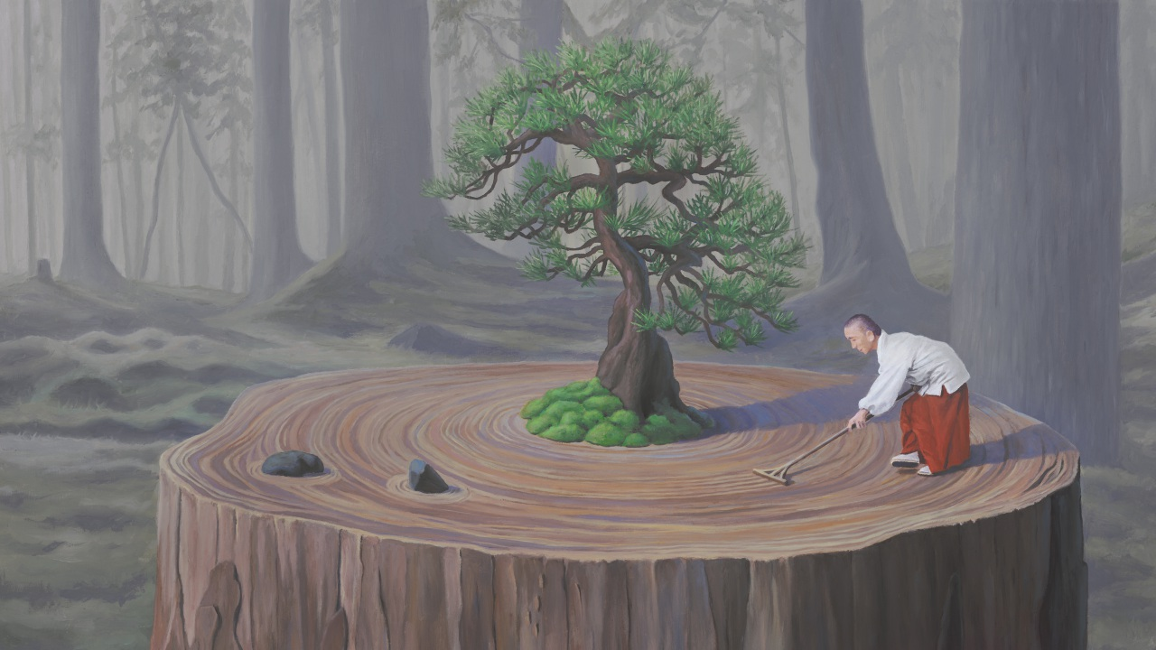 The Compassionate Gardener, painting of a monk raking a tree stump